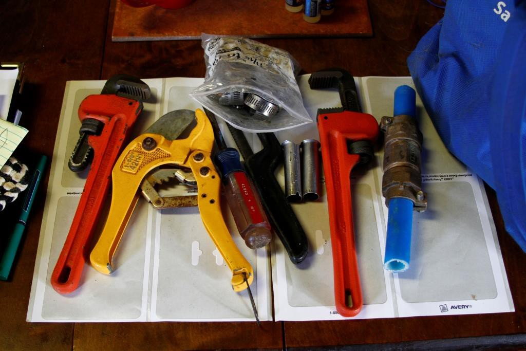 tools for working on the spring fed water line