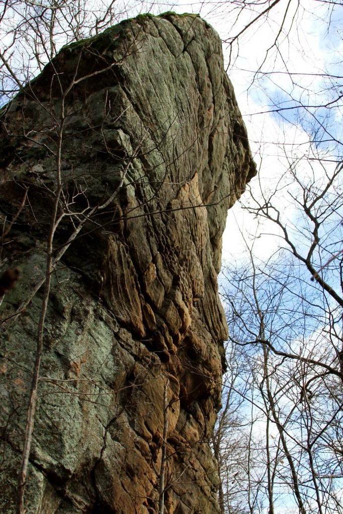 A really tall rock. Had to get on the ground to get the top in the frame.