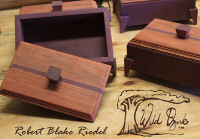The first series of handcrafted keepsake boxes by Robert Blake Riedel. Purple Heart and Chokte Kok.