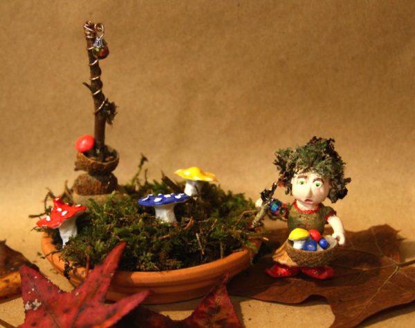 Annabelle tending her mushroom garden.