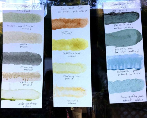 All the colors I have so far, hanging in the light for four weeks to test stability.