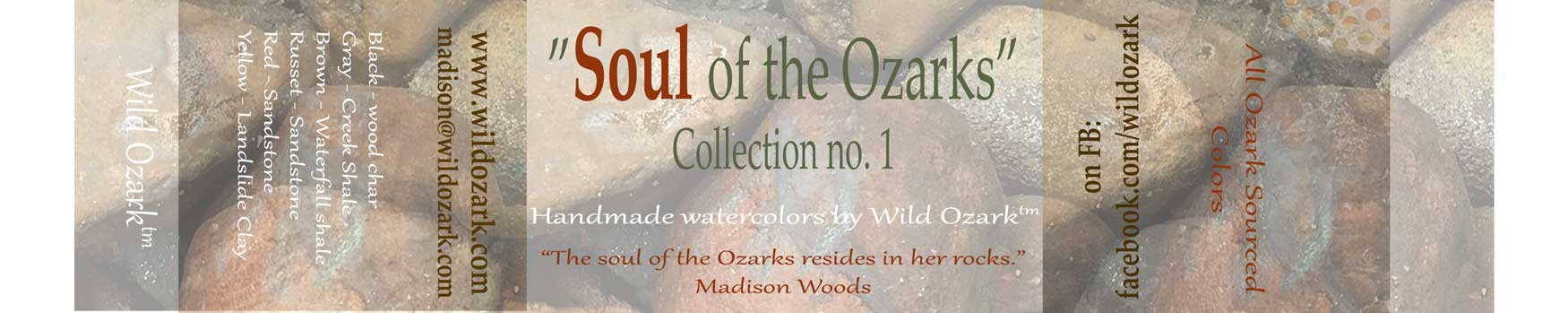 Wrapper for the Soul of the Ozarks watercolor paint tin.