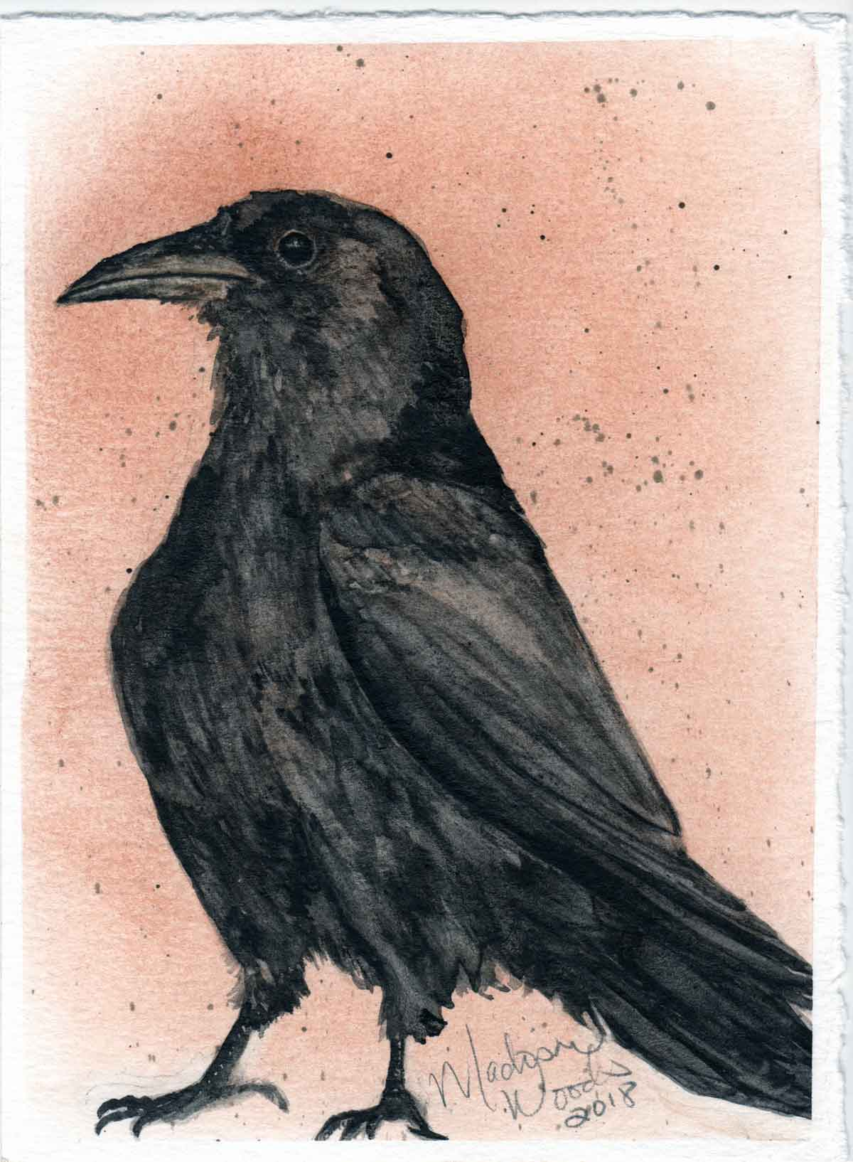 Kady's Crow, a painting of a crow by Madison Woods
