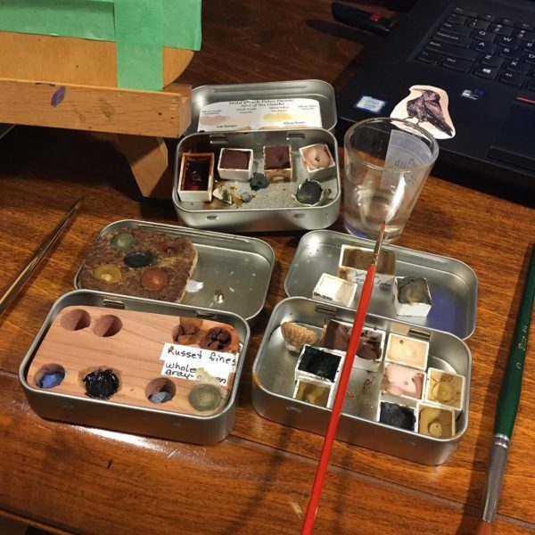 My personal pans of paint from rocks. They get pretty messy with use.