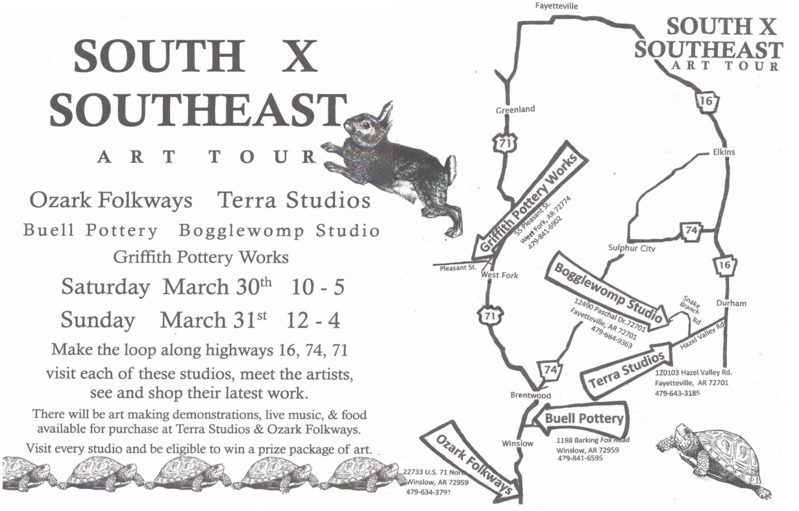 The tour route for South x Southeast Art Tour 2019