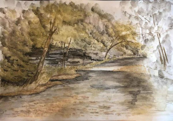 Buffalo river painting in progress. This one is also included in the mounted print giveaway.