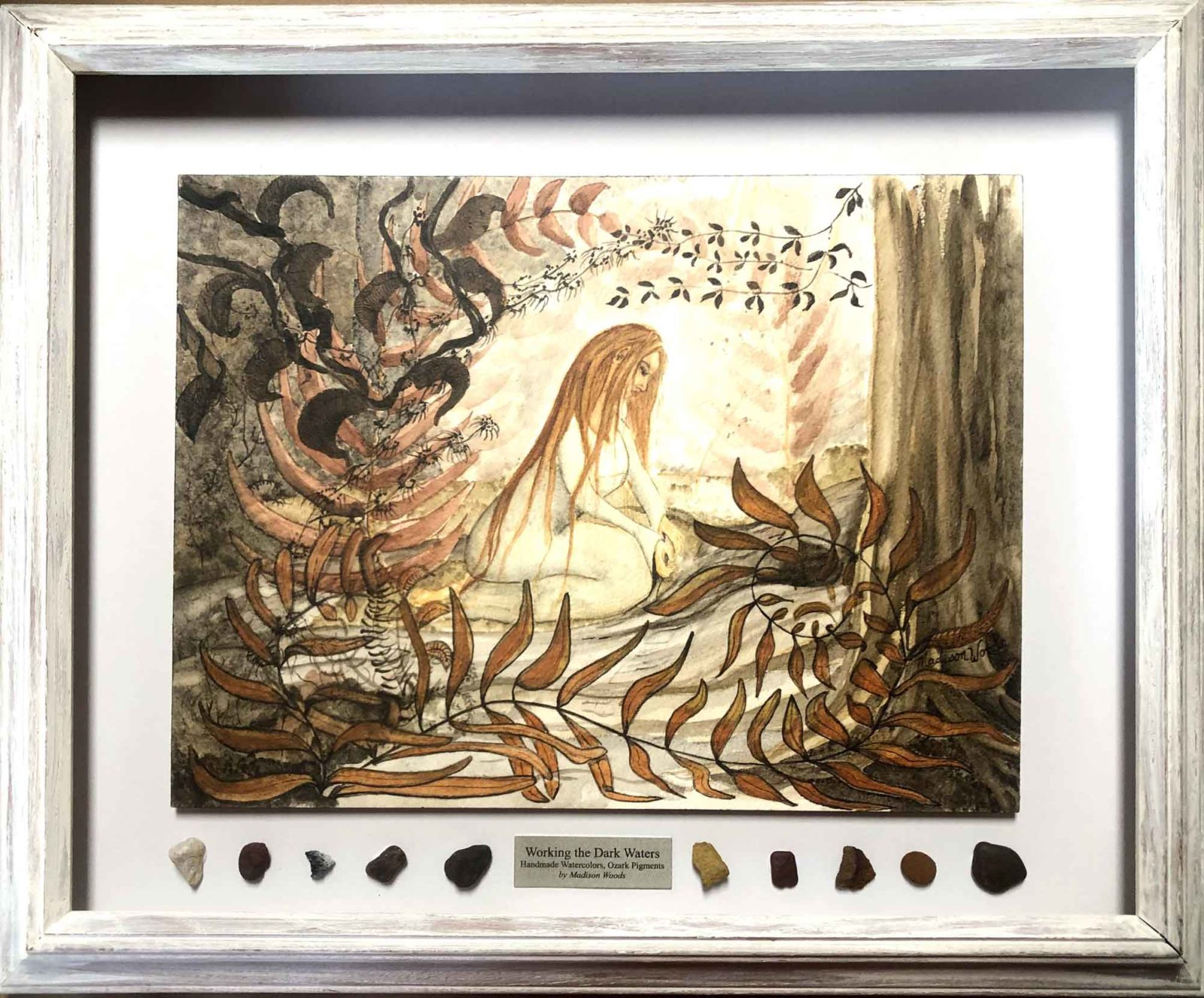 Fantasy, but definitely influenced and inspired by nature. Working the Dark Waters, a framed original by Madison Woods