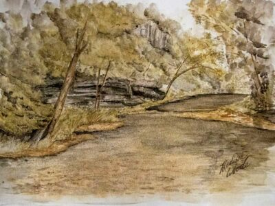Ponca in Summertime without the frame, an original watercolor in Ozark pigments by Madison Woods.