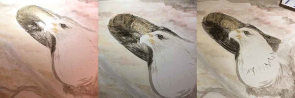 Shows the progression of painting the back wing of this bald eagle.