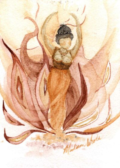 Painting of a goddess figurine dancing in the flames.