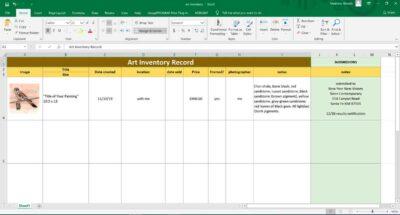 art inventory spreadsheet