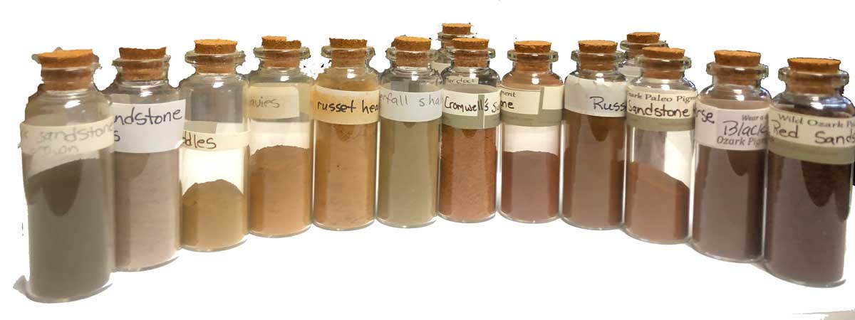 The lineup of pigments we'll use in the handmade watercolor workshop in Fayetteville, AR next week.