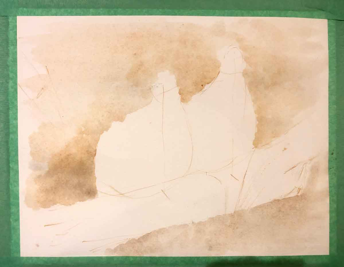 The background wash for my bobwhite quail painting.
