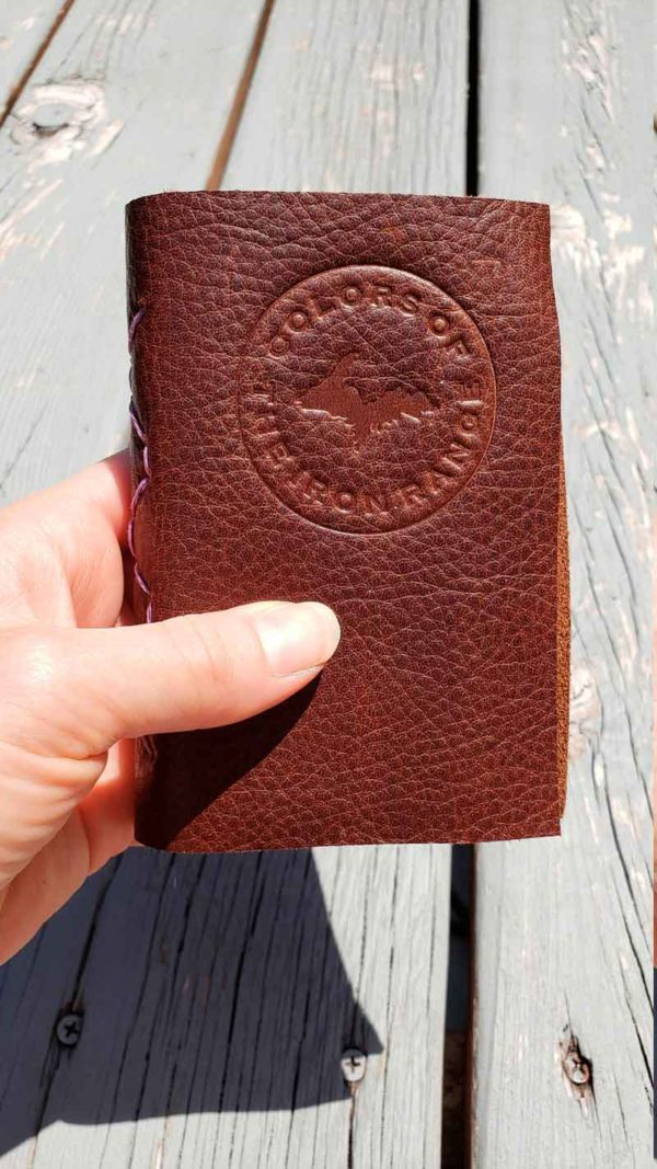 A repurposed leather watercolor journal from Colors of the Iron Range. Sure to thrill the artist.