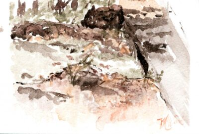 The horizontal version of Felkins creek in Madison county Arkansas. An original painting by Madison Woods.