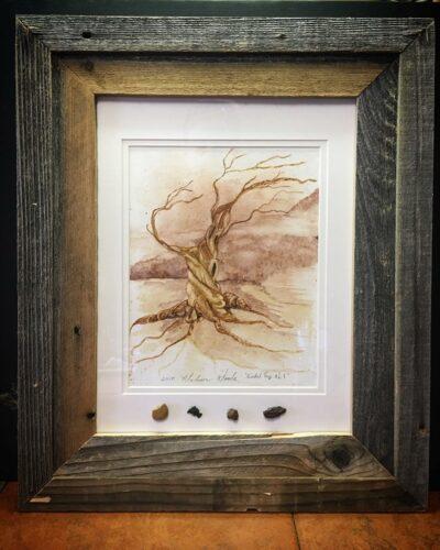 Old Man, framed in old barnwood with rock samples.