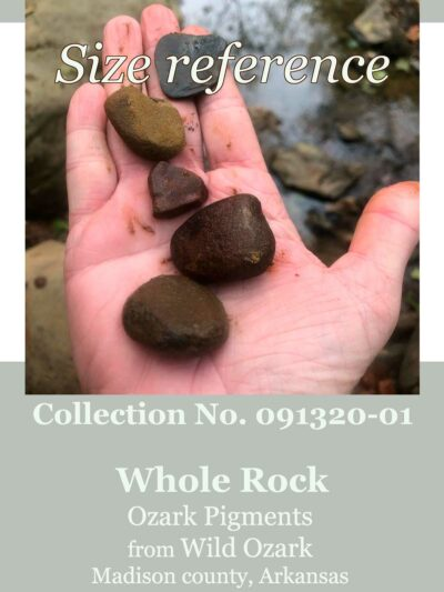 Size reference for this collection of whole pigment rocks.