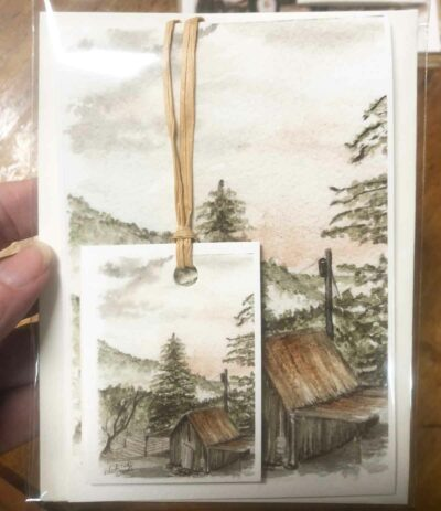 A note card and gift tag set featuring my painting of an old shed.
