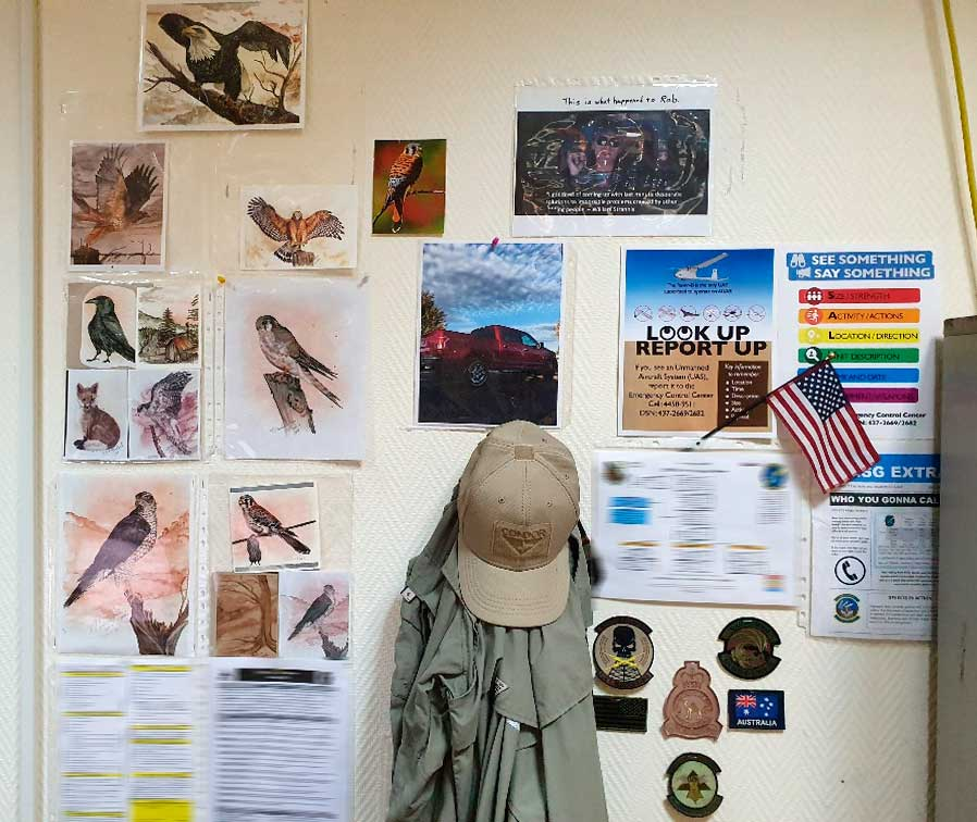 My husband has been the biggest supporter of my art. He's pinned every print I've sent him on his office at work at Al Udeid in Qatar.