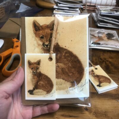 Fox Note Card & Gift Tag set featuring artwork by Madison Woods.