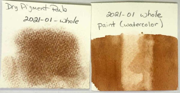 The paint and dry pigment rub swatch for Paleo Paint pigment #2021-01 Whole